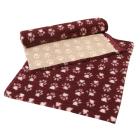 Dry Bed Nonslip Bordo/Białe Łapki 75x100